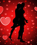 Silhouetted Couple With Love Royalty Free Stock Image