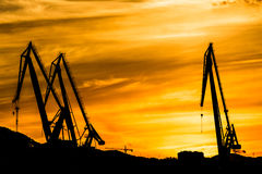 Silhouetted cranes at shipyard,. Urban landscape of silhouetted cranes Stock Photos