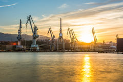 Silhouetted cranes at shipyard,. Urban landscape of silhouetted cranes Royalty Free Stock Images
