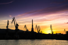 Silhouetted cranes at shipyard,. Urban landscape of silhouetted cranes Stock Images