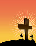 Silhouetted Crosses at Sunrise Illustration Stock Images