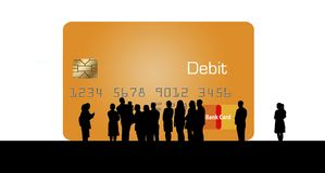 A silhouetted crowd of people huddle around a huge debit/credit card as if to admire the new offering to the credit card family. This is an illustration vector illustration