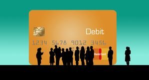 A silhouetted crowd of people huddle around a huge debit/credit card as if to admire the new offering to the credit card family. This is an illustration royalty free illustration