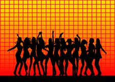Silhouetted Dancers Background. A background with the silhouettes of female dancers on a bright yellow and orange checkered background Royalty Free Stock Photography