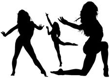 Silhouetted Dancing Young Woman. In Various Poses - Set of Black Illustrations, Vector Royalty Free Stock Images