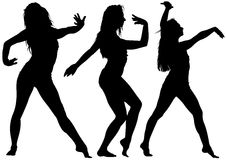 Silhouetted Dancing Young Woman. In Various Poses - Set of Black Illustrations, Vector Royalty Free Stock Photos