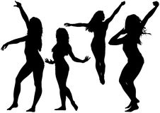 Silhouetted Dancing Young Woman. In Various Poses - Set of Black Illustrations, Vector Stock Image