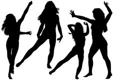 Silhouetted Dancing Young Woman. In Various Poses - Set of Black Illustrations, Vector Stock Images