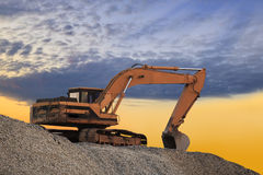 Silhouetted Digging Machine Royalty Free Stock Image