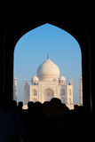 Tah Majal framed by the archway of the Great Gate in Agra, India stock photo