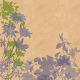 Silhouetted flowers and leaves. Grey blue silhouetted flowers and leaves on fawn brown background Royalty Free Stock Photography