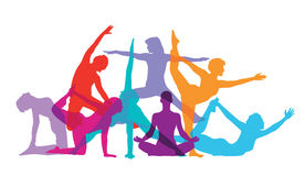 Silhouetted gymnasts exercising stock illustration