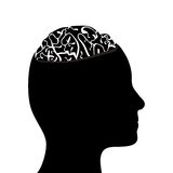 Silhouetted head and brain. Black side silhouette of human head with cutaway showing brain, isolated on white background Royalty Free Stock Photo