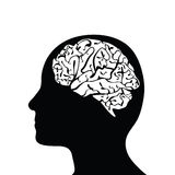 Silhouetted head and brain Stock Photography