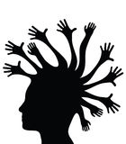 Silhouetted head and hands. Black side silhouette of human head with waving hands, isolated on white background Stock Photography
