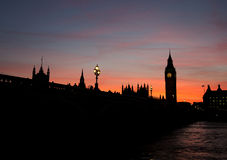 Silhouetted Houses of Parliament. Silhouette of the Houses of Parliament at dusk royalty free stock photos