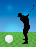 Silhouetted Man Golfing Illustration Stock Photo