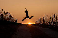 Silhouetted man leaping in sunset Stock Photo