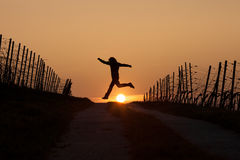 Silhouetted man running in sunset Royalty Free Stock Photos