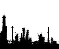 Silhouetted of oil refinery Royalty Free Stock Photos