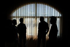 Silhouetted People. Making discussion Royalty Free Stock Photos