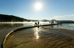 People looking at Geyser. Yellowstone Royalty Free Stock Images