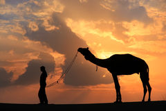 Silhouetted person with a camel at sunset, Thar desert near Jais Stock Photography