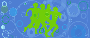 Silhouetted runners. On a background of a blue circles as an oxygen-Image dimension is ideal for juice can Royalty Free Stock Photography