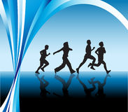Silhouetted runners background vector Stock Photos
