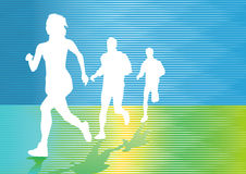 Silhouetted runners. Three silhouetted runners on colorful abstract background royalty free illustration
