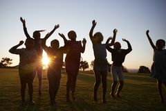 Silhouetted school kids jumping outdoors at sunset Stock Photo