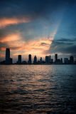 Silhouetted Skyline of Midtown Manhattan at Sunset Royalty Free Stock Image