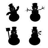 Silhouetted snowman. Illustrated set of cartoon snowmen in differ poses, white background Stock Image