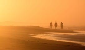 Silhouetted soluppgångfotgängare OBX NC för strand plats Royaltyfria Foton