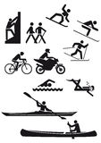 Silhouetted sports characters. Silhouetted illustration of people taking part in different sports with a white background Royalty Free Stock Photos