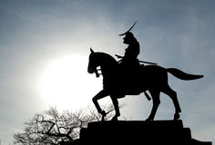 Silhouetted statue of Date Masamune Stock Image