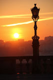 Silhouetted street lamp at sunset. Porto. Portugal royalty free stock photo