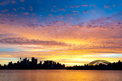 Silhouetted Sydney Australia Skyline Royalty Free Stock Photo