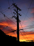 Silhouetted Telephone and Power Pole and Wires, La Canada, California Royalty Free Stock Photography