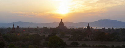 Bagan Temples at Sunset. The silhouetted temples of Bagan at sunset in Myanmar Royalty Free Stock Images