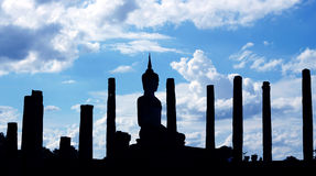Silhouetted with thai style temple Royalty Free Stock Image