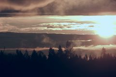 Silhouetted Tree Line Sunrise. Royalty Free Stock Images
