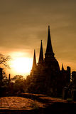 Silhouetted of Wat Phra Sri Sanphet at sunset in Ayutthaya historic park, Thailand Stock Images