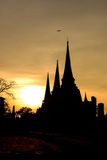 Silhouetted of Wat Phra Sri Sanphet at sunset in Ayutthaya historic park, Thailand Stock Photo
