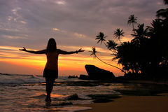 Silhouetted woman on a beach with palm trees and rocks at sunset Stock Photography