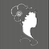 Silhouetted woman in black white stripe. Abstract author design girl profile with hairstyle and decoration logo bust style silhouette application stock vector Stock Photo