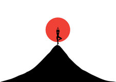 Silhouetted woman practice yoga at sunset , illustrations Stock Photos