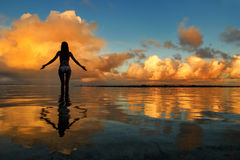 Silhouetted woman standing in a water at sunset on Taveuni Islan Stock Photography