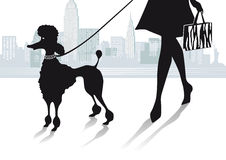 Woman in city with poodle Royalty Free Stock Image
