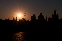 Silhouetteer de Oude Stad in Praag Royalty-vrije Stock Afbeelding